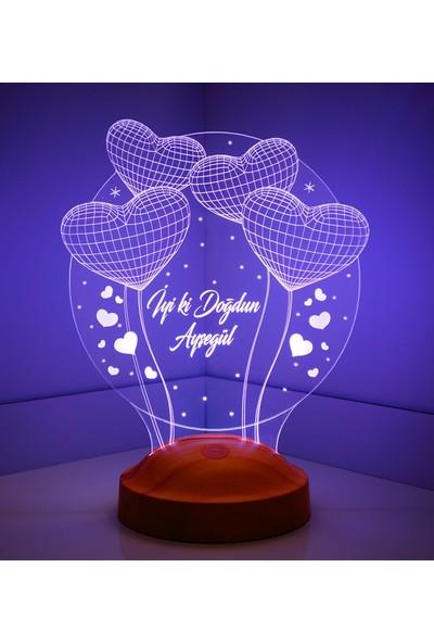 Kişiye Özel 3 Boyutlu Balon Kalpler Küre LED Lamba