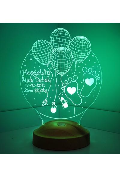 Sevgi Lambası Kişiye Özel Hoşgeldin Bebek 3 boyutlu LED Lamba