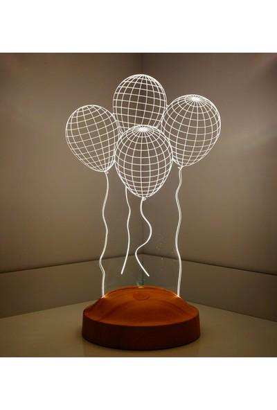 Sevgi Lambası 3 Boyutlu LED Lamba Uçan Balonlar