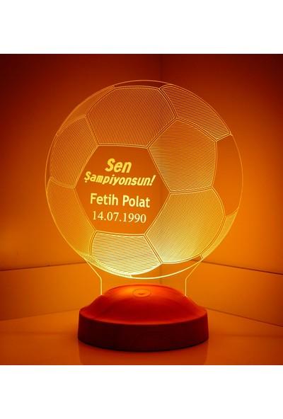 Sevgi Lambası Kişiye Özel 3 Boyutlu Futbol Topu LED Lamba
