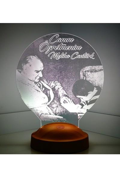 Sevgi Lambası 3D Görünümlü Atatürk Baş Öğretmen Led Lamba