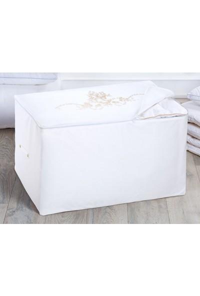 Madame Coco Çiçek Desen Varaklı Hurç King Size - Beyaz