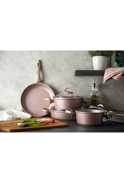 Emsan Premium Granit 7 Parça Tencere Takımı Golden Pink