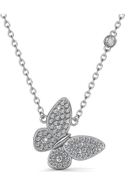 Monemel Swaroski Taşlı Kelebek Kolye Gümüş üzeri Altın Kaplama