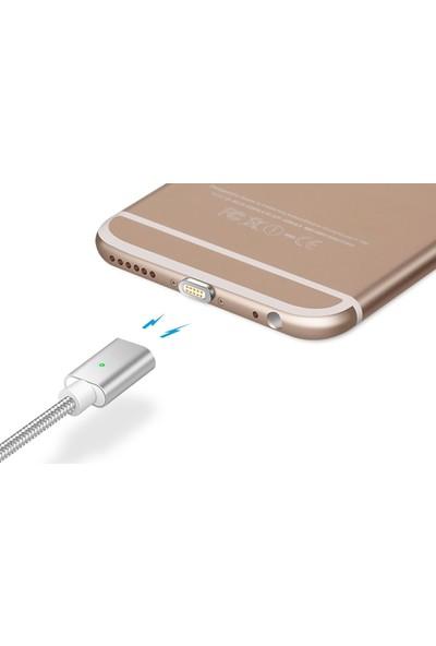 Sonmodashop iPhone 5/5S Lightning 2A Naylon Fiber Mıknatıslı Manyetik Şarj Data Kablosu