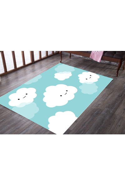 Consepthome Sevimli Bulutlar Anti Alerjik Çocuk Odası Halısı 80x150