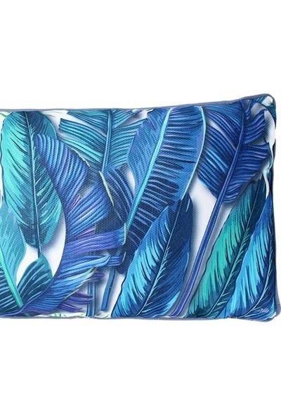 Altıncı Cadde Tropik Yastık Banana Palm Mavi 50x30Cm