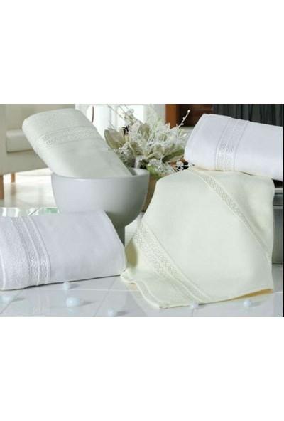 Fiesta 2 adet Kadife Ara Boş Havlu Beyaz