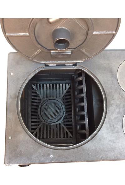 Süsler Mat Siyah Döküm Kuzine Soba + Fırınlı Soba + Döküm Soba Uyuyan Soba Kömür Sobası Odun Sobası