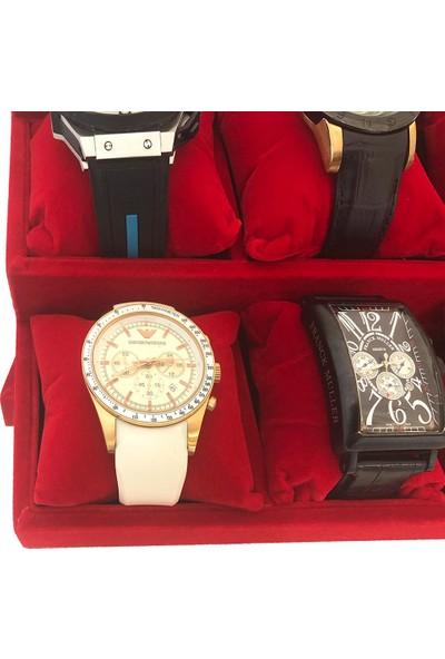 Standmarket 12'li Kademeli Saat Ve Bileklik Tablası Kırmızı