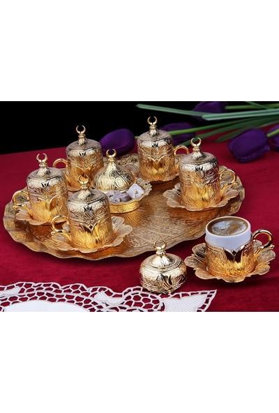 Pi İthalat Osmanlı Motifli 6 Kişilik Türk Kahve Seti - Altın