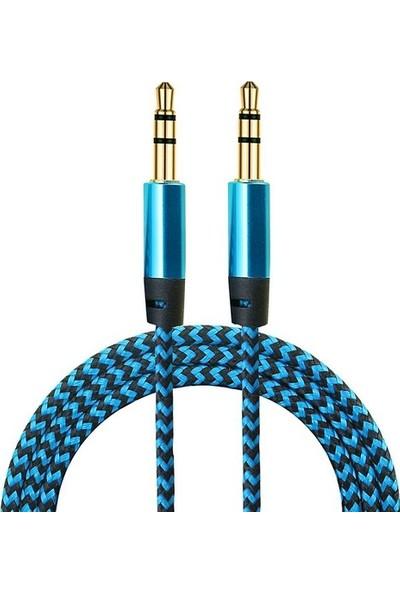 Tkz 1 Metre Gold Koruma Kılıflı Mavi Stereo Örgülü 3.5Mm Jack Aux Kablosu
