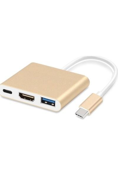 Tkz Tk-C68 Type-C To Hdmı+Usb3.0+Pd Kablo (Hdmı + Usb Otg + Type-C Dişi Bağlantı Adaptörü )