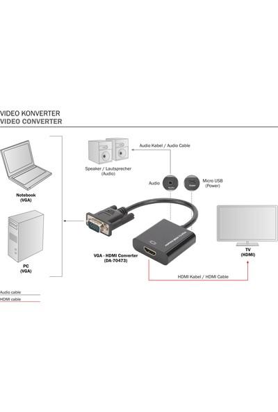Digitus Vga Hdmı Çevirici + Ses (3.5Mm), Full Hd (1080P) Kablolu 15 Cm Siyah