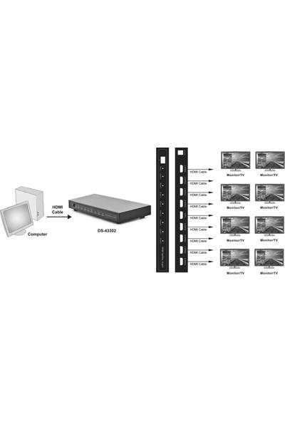 Digitus 8 Port Hdmı Çoklayıcı, 1080P, 3D Hdmı High Speed 2.25 Ghz/225 Mhz Metal Şasi Siyah
