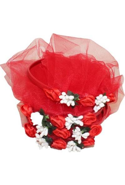 Kına Atölyesi Taç Çiçekli Kırmızıya Beyaz Kına Tacı 10 Adet