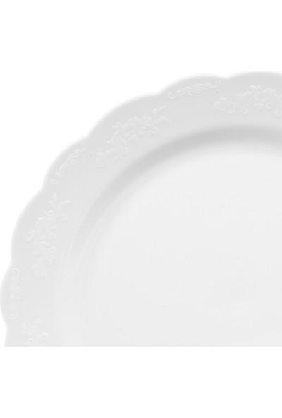 Propack 6 Adet 26Cm Plastik Beyaz Sofra Tabak