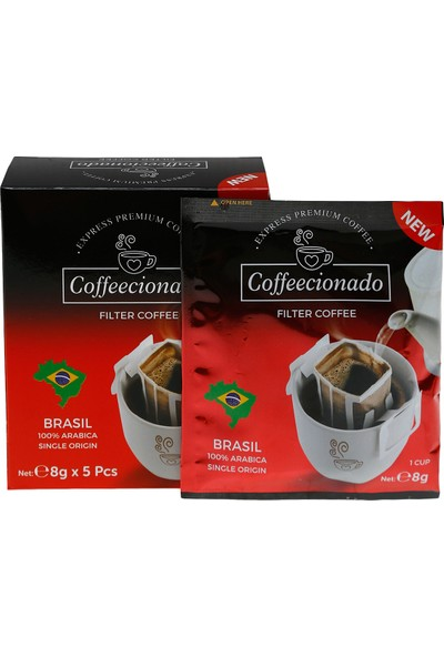 Coffeecionado Pratik Filtre Kahve 15li Karma Set 5 adet Brasil 5 adet Colombia 5 adet Decaf