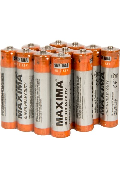 Maxima R03 1.5V AAA Çinko Karbon (S.Heavy Duty) İnce Kalem Pil 12'li paket