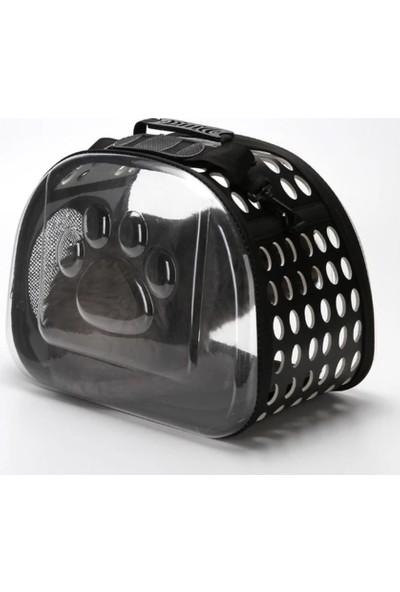 Şeffaf Kedi Köpek Taşıma Çantası 42 x 26 x 35 cm Siyah