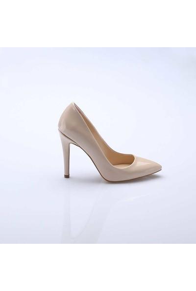 Modabuymus Büyük Numara Ten Rugan Topuklu Stiletto Ayakkabı