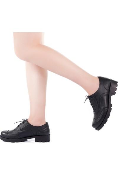 Modabuymus Siyah Gerçek Deri Kadın Oxford Ayakkabı