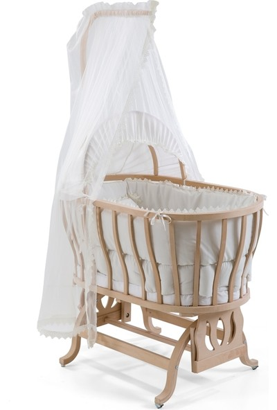 Heyner Ahşap Organik Anne Yanı Beşik Lüx Sepet Beşik - Bebek Odası Mini Bebek Beşiği - Ekru Uyku Setli & Soft Ortopedik Yataklı