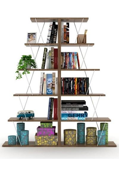 Rafevi Tars Kitaplık Mini (Ceviz-Krom)