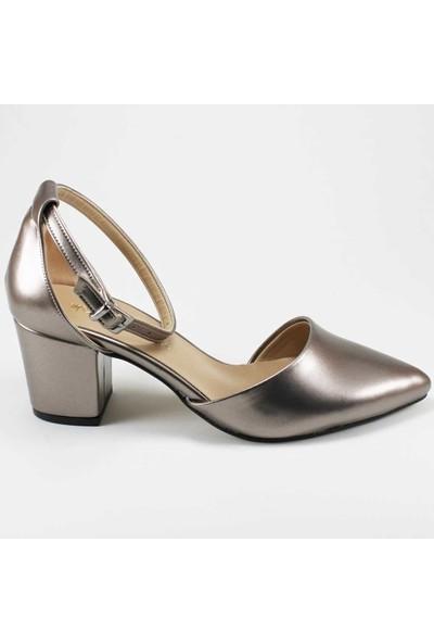 Modabuymus Yanı Açık Kısa Topuklu Kadın Stiletto Ayakkabı Gümüş
