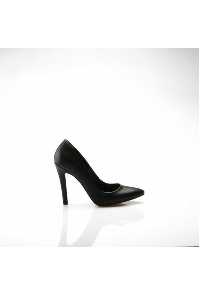 Modabuymus Büyük Numara Siyah Topuklu Stiletto Ayakkabı