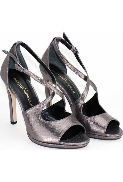 Modabuymus Süper Dekolteli Çapraz İnce Bantlı Şık Platform Topuklu Antrasit Platin Kadın Ayakkabı- Sincr