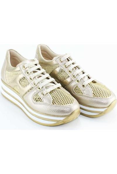 Modabuymus Dore Altın Yazlık Delikli Dolgu Taban Kadın Spor Ayakkabı - Horlin
