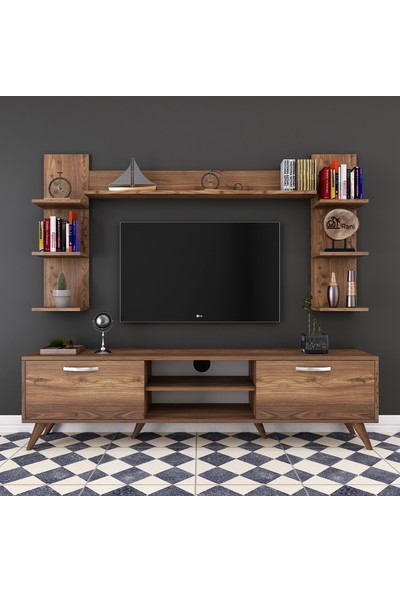 Rani A9 Duvar Raflı Kitaplıklı Tv Ünitesi Duvara Monte Dolaplı Modern Ayaklı Tv Sehpası Ceviz M23