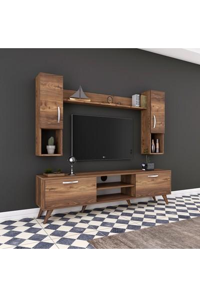 Rani A9 Duvar Raflı Kitaplıklı Tv Ünitesi Duvara Monte Dolaplı Modern Ayaklı Tv Sehpası Ceviz M27