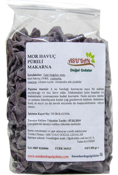Asudan Doğal Gıdalar Mor Havuçlu Papyon Makarna300gr