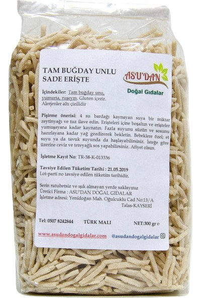 Asudan Doğal Gıdalar Tam Buğday Unlu Ruşeymli Erişte 300gr