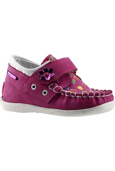Teo 2400 Fusya %100 Deri Ortopedik Cırtlı Kız Çocuk Ayakkabı