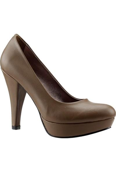 Paddy 2735 Vizon Platform İnce Topuk Abiye Kadın Cilt Ayakkabı