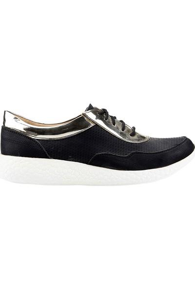 Teceras St494 Siyah Bağcıklı Günlük Kadın Spor Ayakkabı