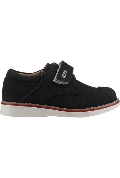 Fibinacci St661 Siyah Nubuk Deri Sünnet Okul Erkek Çocuğu Ayakkabı