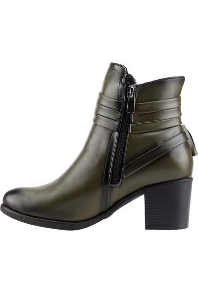 Ayakland 832 Haki Günlük 6Cm Topuk Termo Kadın Bot Cilt Ayakkabı