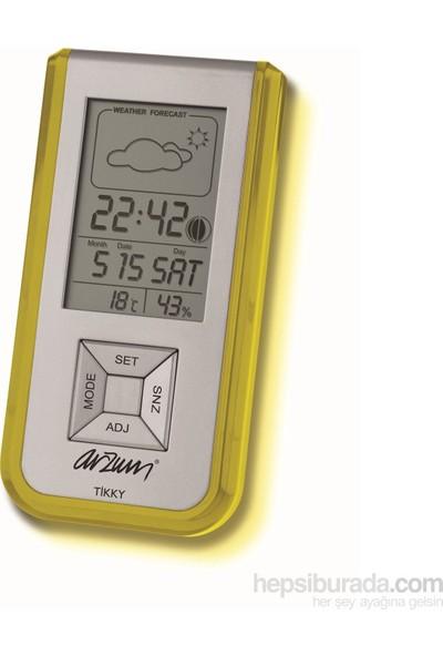 Arzum AR714 Tikky Lcd Ekranlı Çalar Saat/Nem Ölçer-Sarı