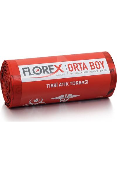 Florex Orta Boy Tıbbi Atık Çöp Poşeti 55 x 60 Cm