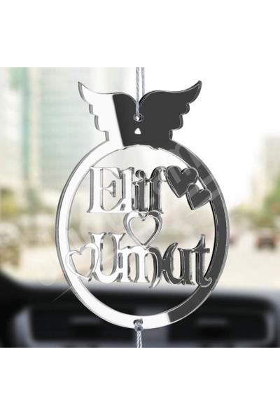 Olur O Zaman Kişiye Özel (2 adet Anahtarlıklı) Melek Kanatlı Pleksi Araba Dikiz Aynası Süsü