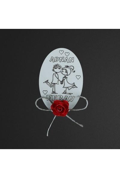 Olur O Zaman Kişiye Özel Sade Kalp Figürlü Ahşap Magnet (Doğum Günü, Kına, Nişan, Düğün, Mevlüd, Söz)