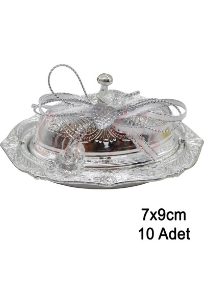 Can Lokumluk 10lu Plastik Süslü Oval Lokumluk Gümüş ( 9 cm * 7 cm )