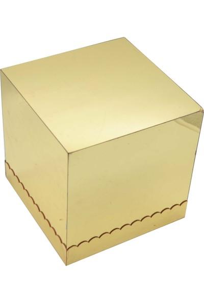 Can Aynalı Ahşap Küp Yükseltici Gold 15 cm * 15 cm * 15 cm