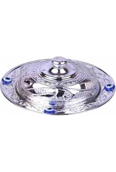 Can Lokumluk 20 Adet Nazar Boncuklu Gümüş Plastik Oval Lokumluk ( 7 cm * 10 cm )