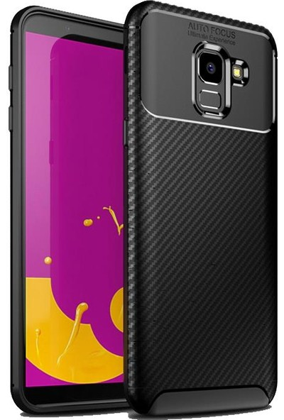 Mueral Samsung Galaxy J6 Mueral Karbon Negro Silikon Arka Kılıf