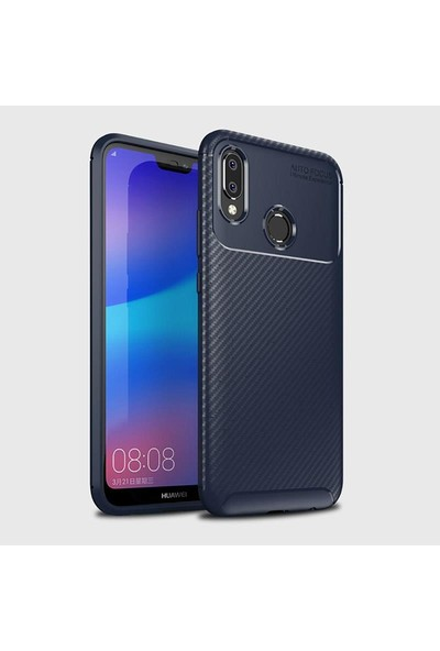 Mueral Huawei P20 LiTE Mueral Karbon Negro Silikon Arka Kılıf